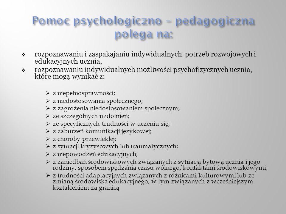 Pomoc psychologiczno – pedagogiczna polega na: