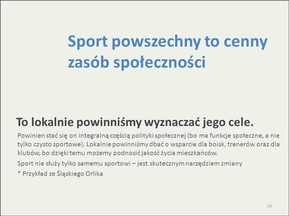 Sport powszechny to cenny zasób społeczności