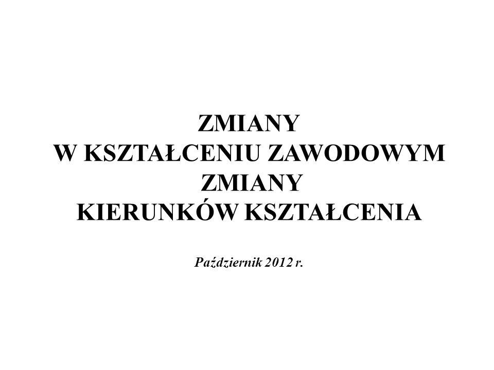 ZMIANY W KSZTAŁCENIU ZAWODOWYM ZMIANY KIERUNKÓW KSZTAŁCENIA Październik 2012 r.
