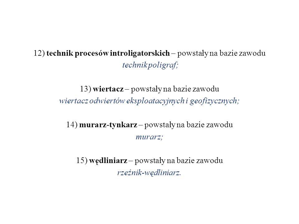 12) technik procesów introligatorskich – powstały na bazie zawodu technik poligraf; 13) wiertacz – powstały na bazie zawodu wiertacz odwiertów eksploatacyjnych i geofizycznych; 14) murarz-tynkarz – powstały na bazie zawodu murarz; 15) wędliniarz – powstały na bazie zawodu rzeźnik-wędliniarz.
