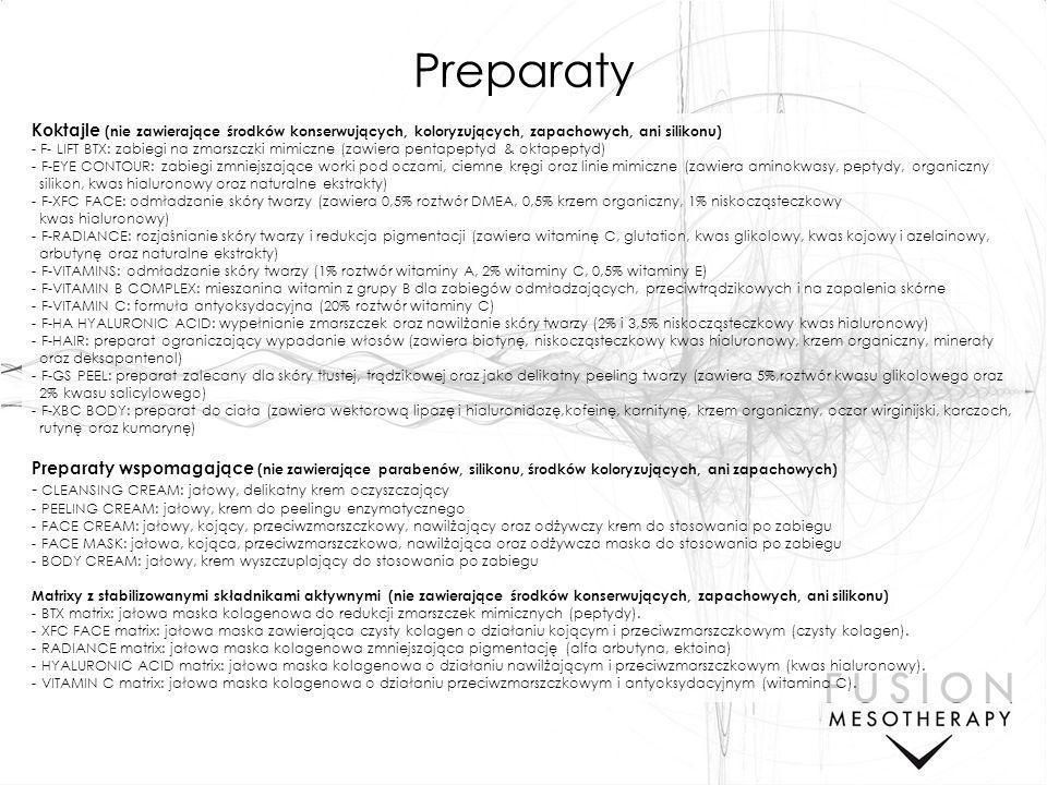 05/25/11 Preparaty. Koktajle (nie zawierające środków konserwujących, koloryzujących, zapachowych, ani silikonu)
