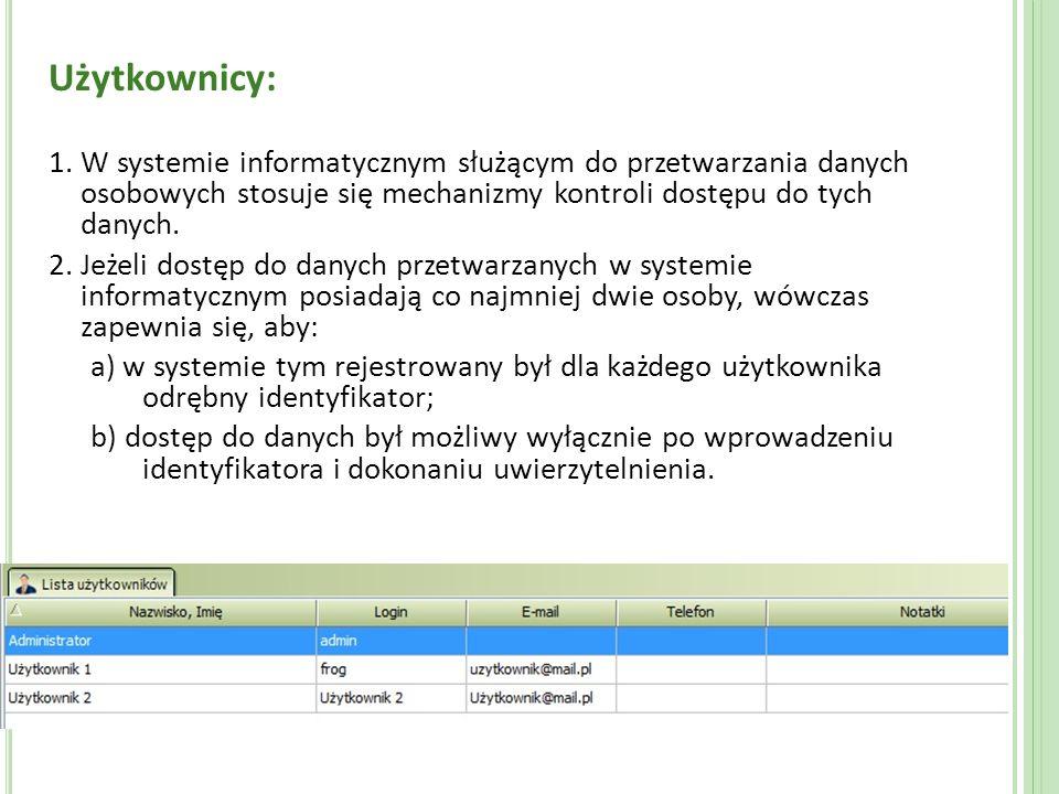 Użytkownicy: 1. W systemie informatycznym służącym do przetwarzania danych osobowych stosuje się mechanizmy kontroli dostępu do tych danych.
