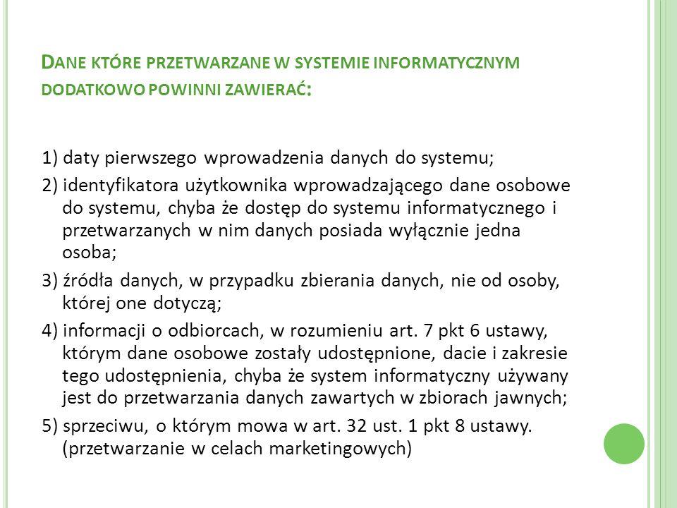 Dane które przetwarzane w systemie informatycznym dodatkowo powinni zawierać: