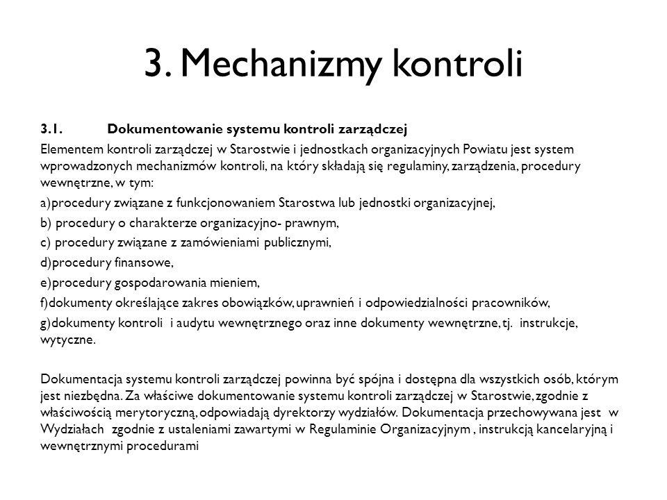 3. Mechanizmy kontroli 3.1. Dokumentowanie systemu kontroli zarządczej