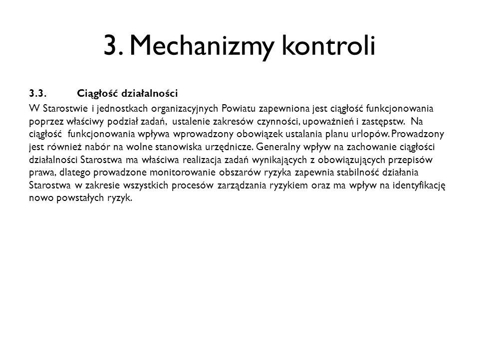 3. Mechanizmy kontroli 3.3. Ciągłość działalności