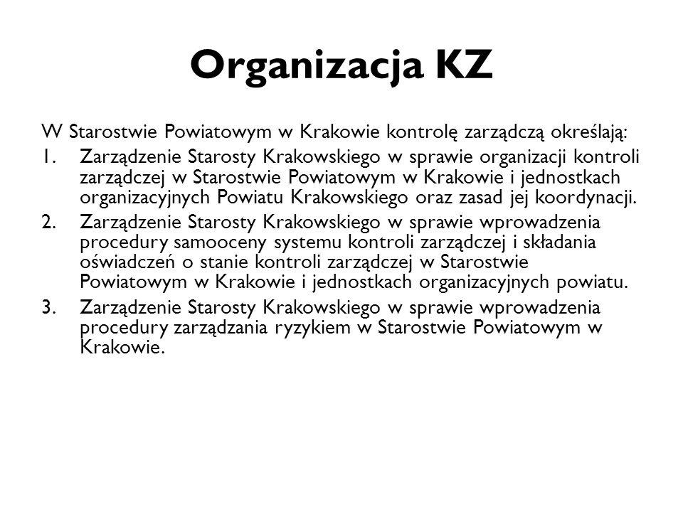 Organizacja KZ W Starostwie Powiatowym w Krakowie kontrolę zarządczą określają: