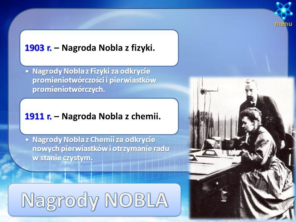 Nagrody NOBLA 1903 r. – Nagroda Nobla z fizyki.