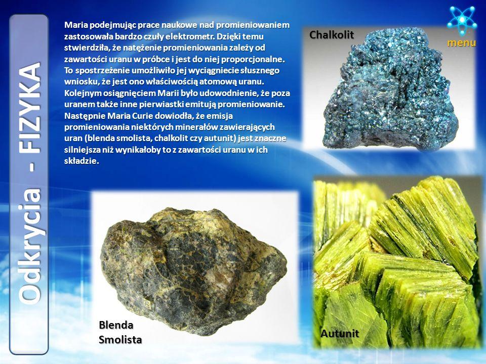 Odkrycia - FIZYKA Chalkolit menu Blenda Smolista Autunit