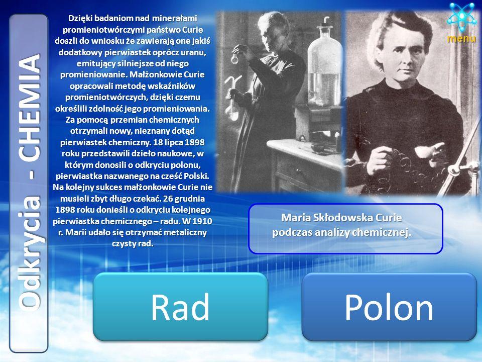 Maria Skłodowska Curie podczas analizy chemicznej.