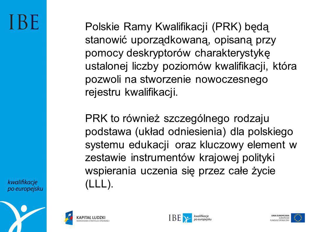 Polskie Ramy Kwalifikacji (PRK) będą stanowić uporządkowaną, opisaną przy pomocy deskryptorów charakterystykę ustalonej liczby poziomów kwalifikacji, która pozwoli na stworzenie nowoczesnego rejestru kwalifikacji.