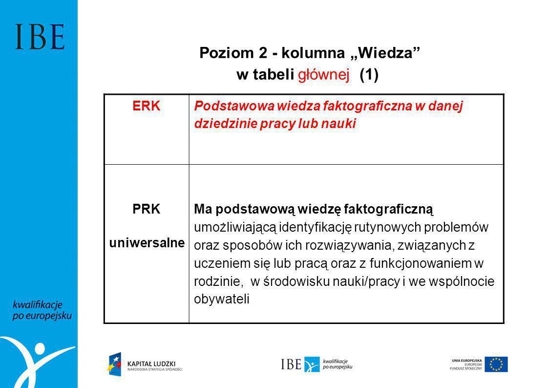 """Poziom 2 - kolumna """"Wiedza w tabeli głównej (1)"""