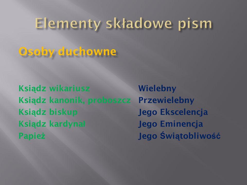 Elementy składowe pism