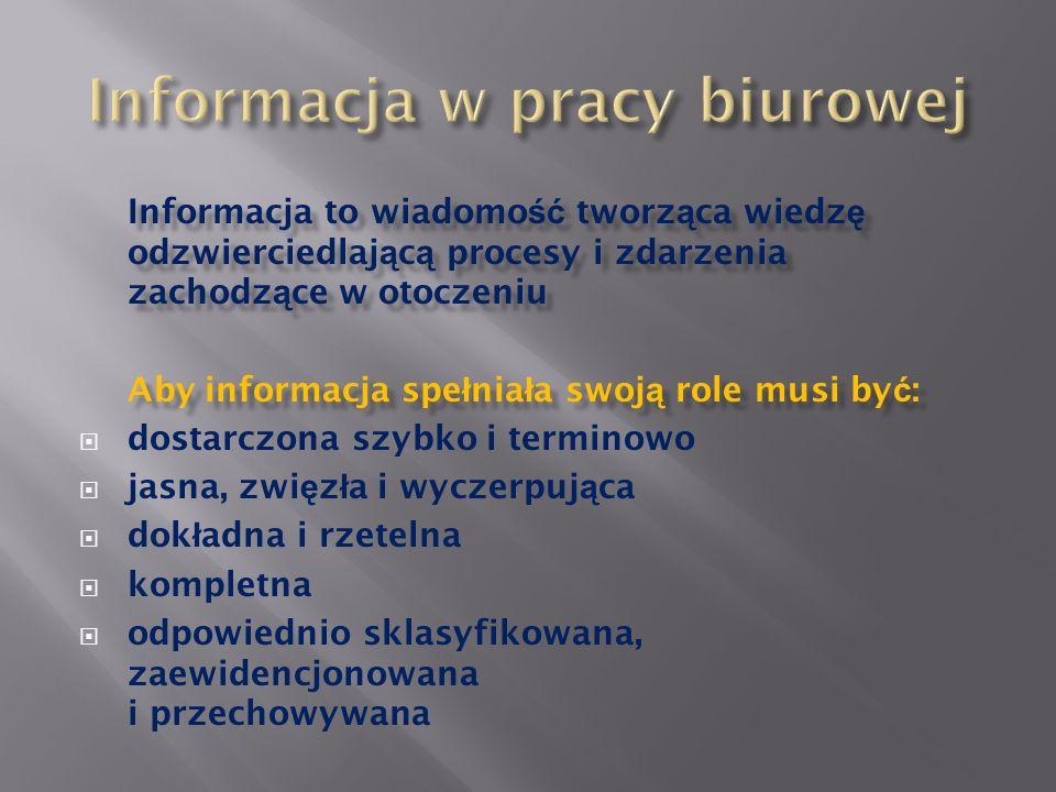 Informacja w pracy biurowej