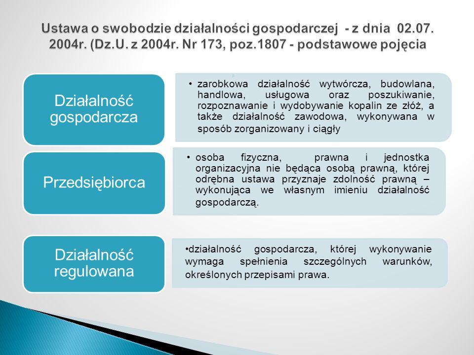 Działalność gospodarcza Przedsiębiorca Działalność regulowana