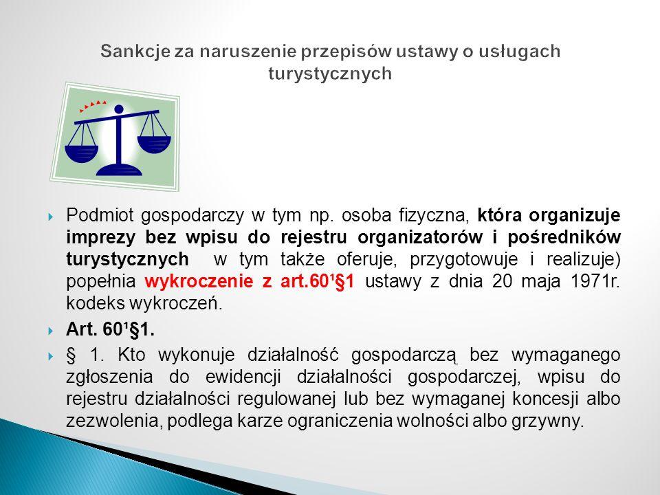 Sankcje za naruszenie przepisów ustawy o usługach turystycznych