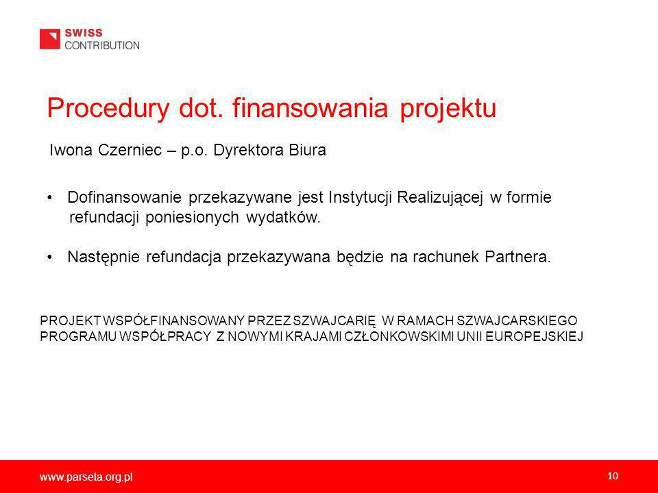 Procedury dot. finansowania projektu