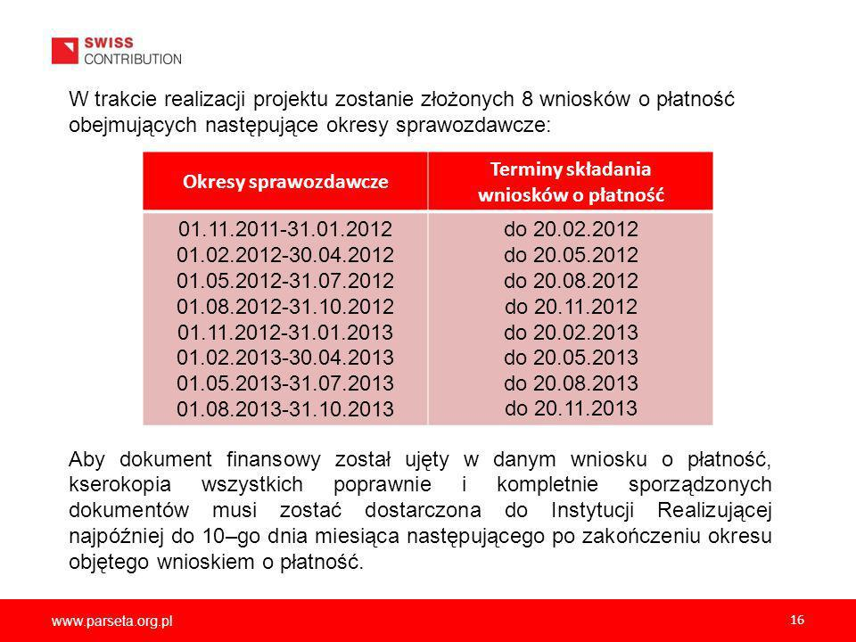 Okresy sprawozdawcze Terminy składania wniosków o płatność