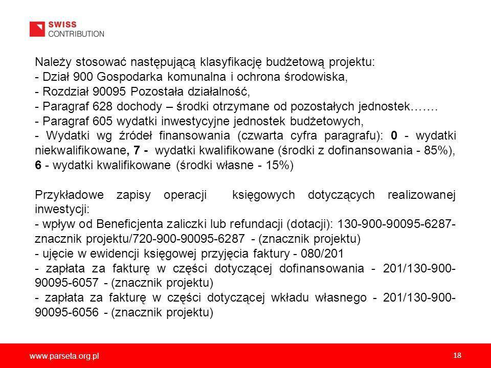 Należy stosować następującą klasyfikację budżetową projektu: