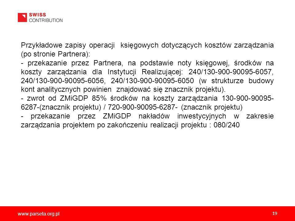 Przykładowe zapisy operacji księgowych dotyczących kosztów zarządzania (po stronie Partnera):