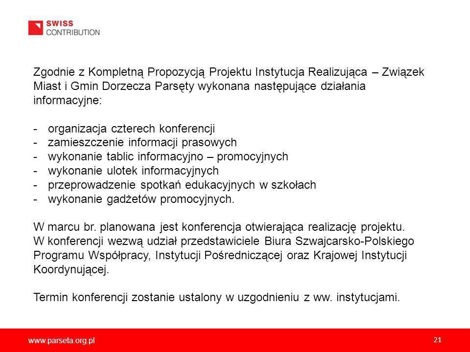 organizacja czterech konferencji zamieszczenie informacji prasowych