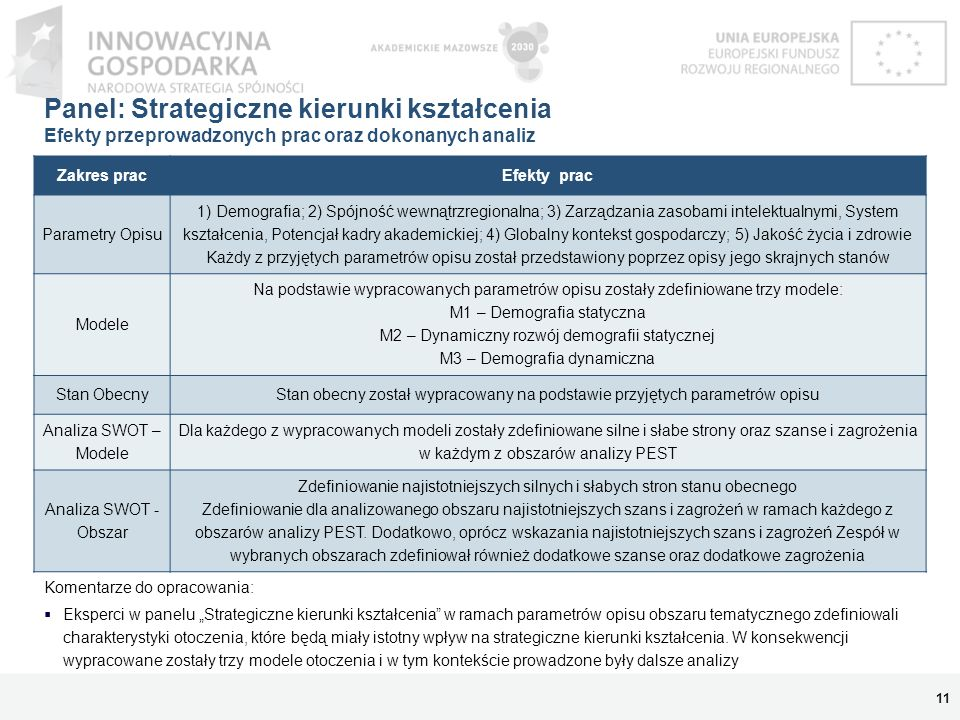 Panel: Strategiczne kierunki kształcenia Efekty przeprowadzonych prac oraz dokonanych analiz