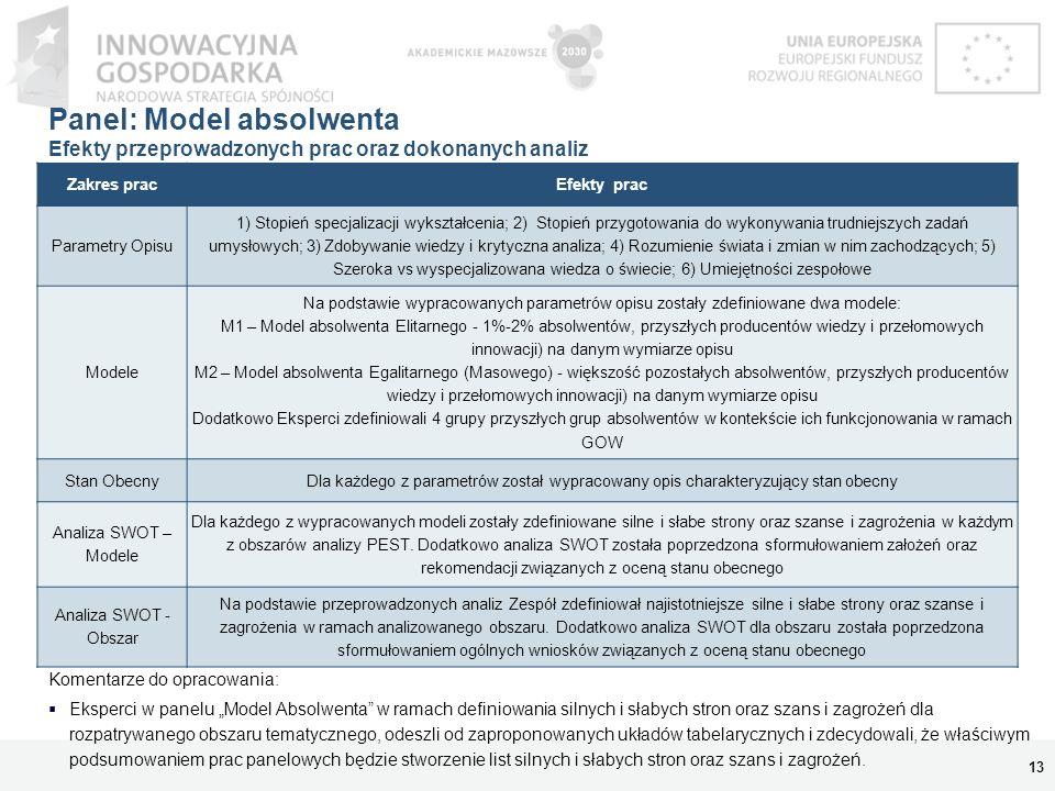 Panel: Model absolwenta Efekty przeprowadzonych prac oraz dokonanych analiz