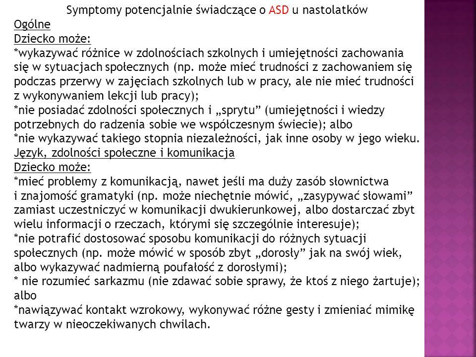 Symptomy potencjalnie świadczące o ASD u nastolatków