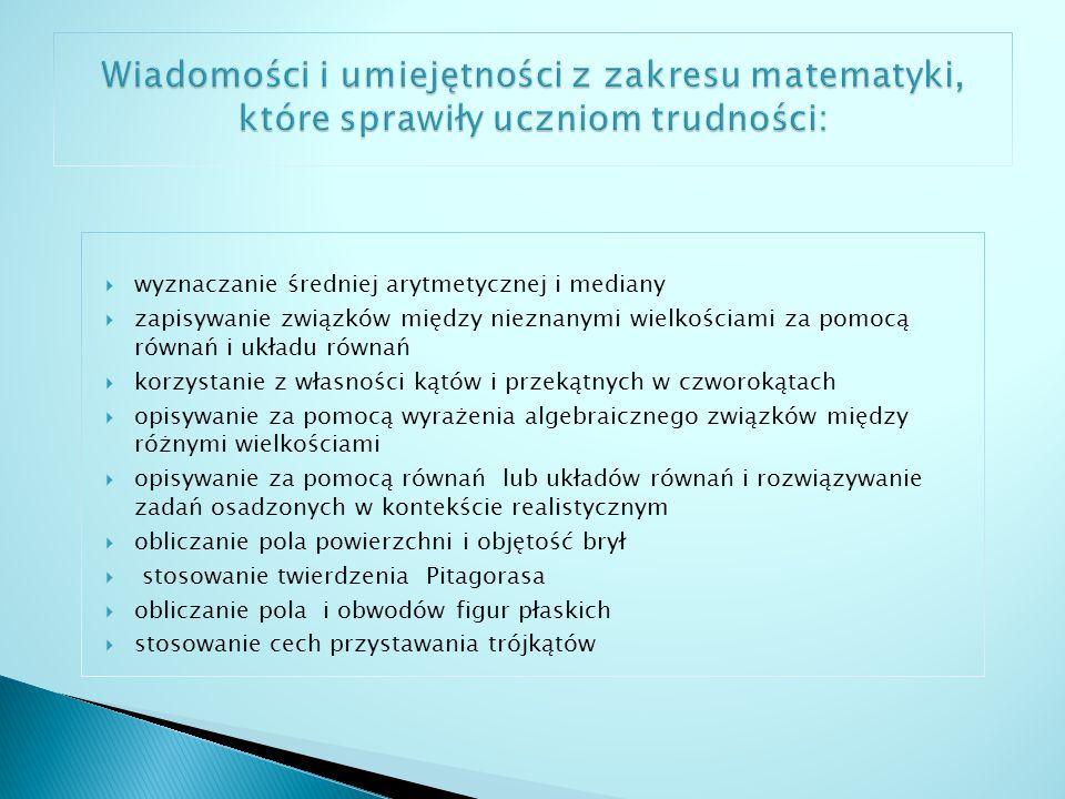 Wiadomości i umiejętności z zakresu matematyki, które sprawiły uczniom trudności: