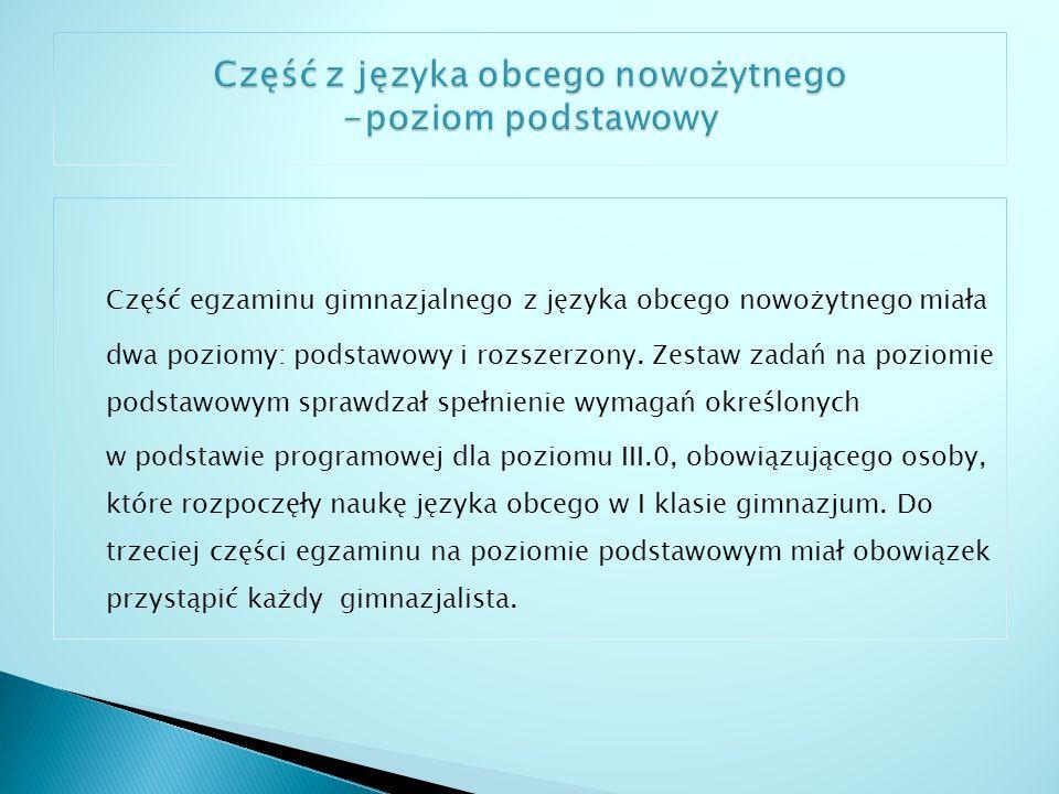 Część z języka obcego nowożytnego -poziom podstawowy