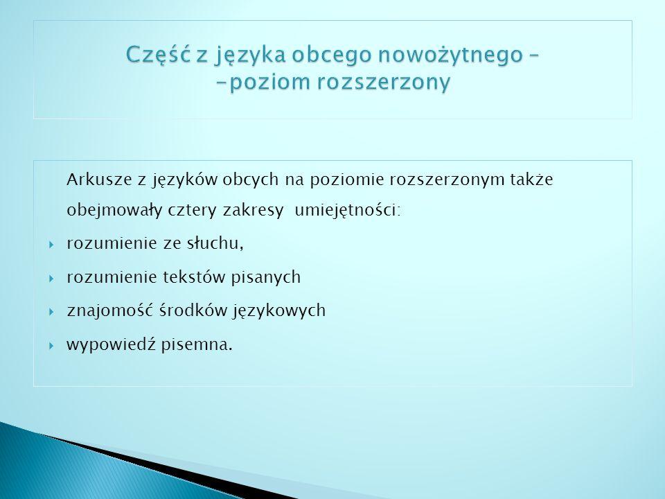 Część z języka obcego nowożytnego – -poziom rozszerzony