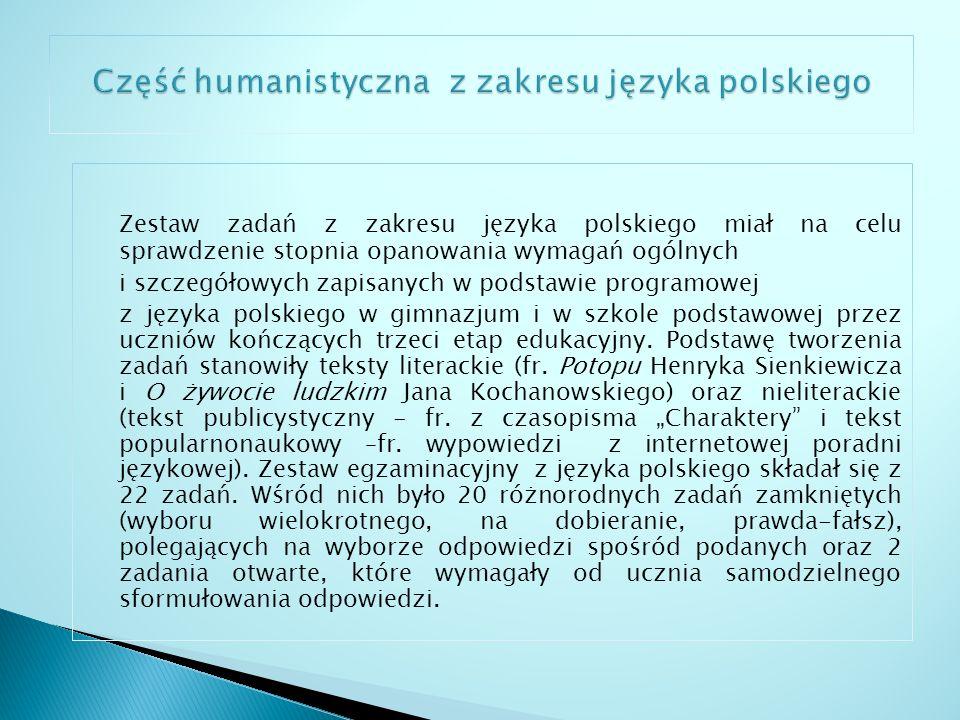 Część humanistyczna z zakresu języka polskiego