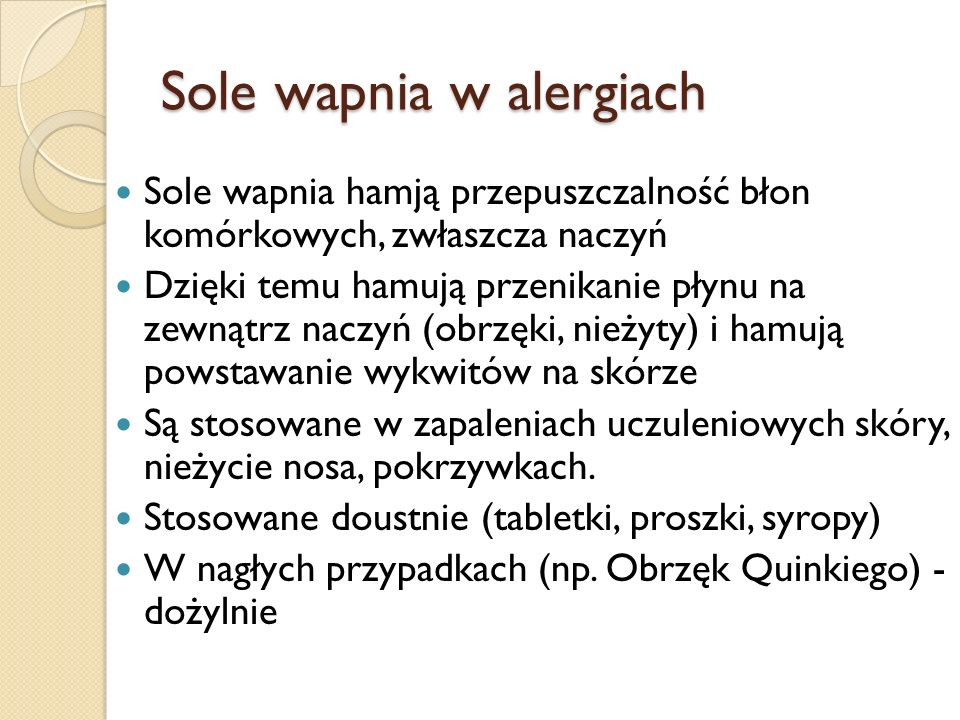 Sole wapnia w alergiach