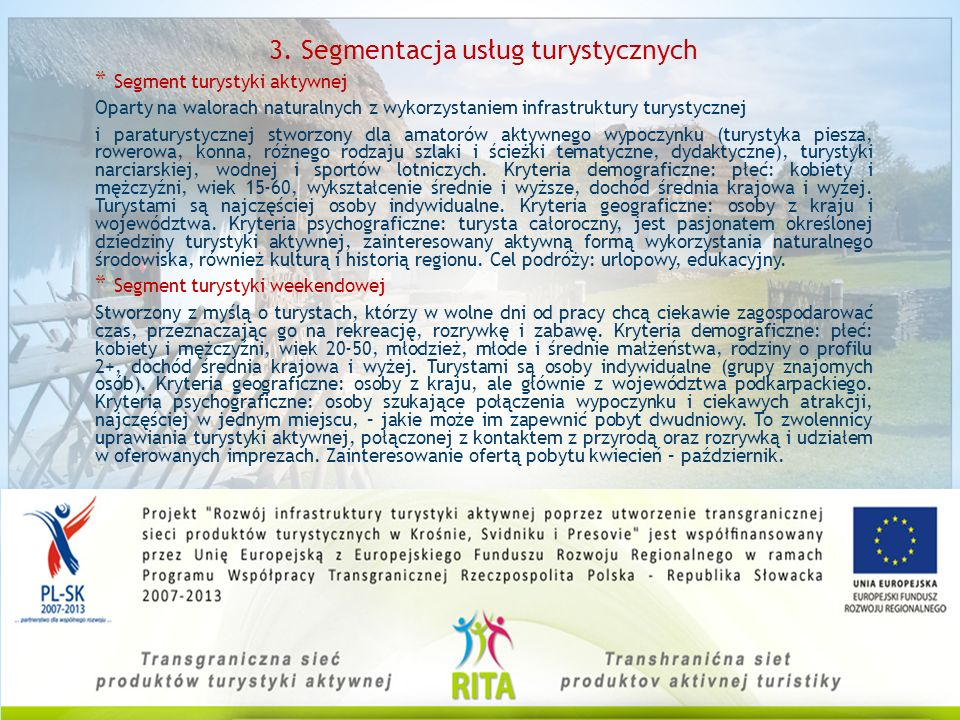 3. Segmentacja usług turystycznych