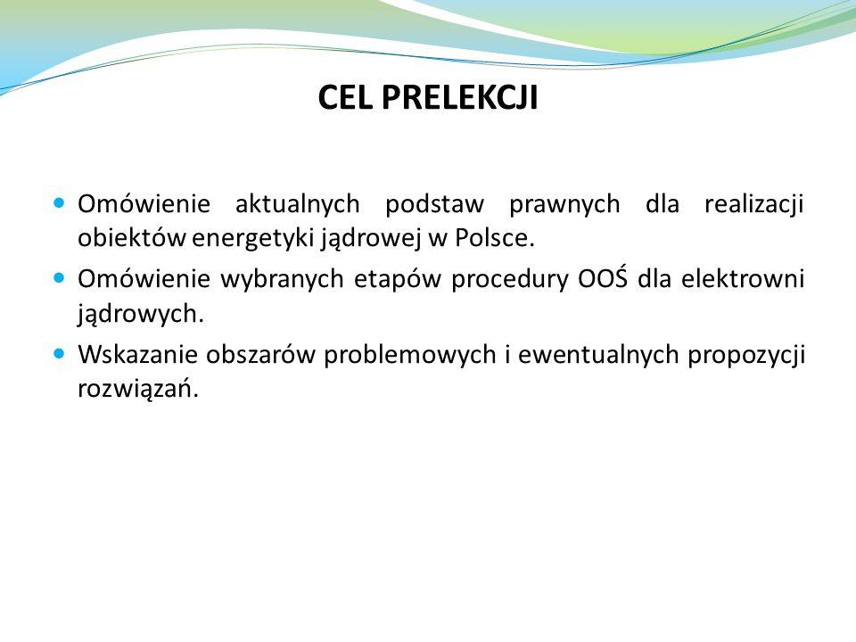 CEL PRELEKCJI Omówienie aktualnych podstaw prawnych dla realizacji obiektów energetyki jądrowej w Polsce.