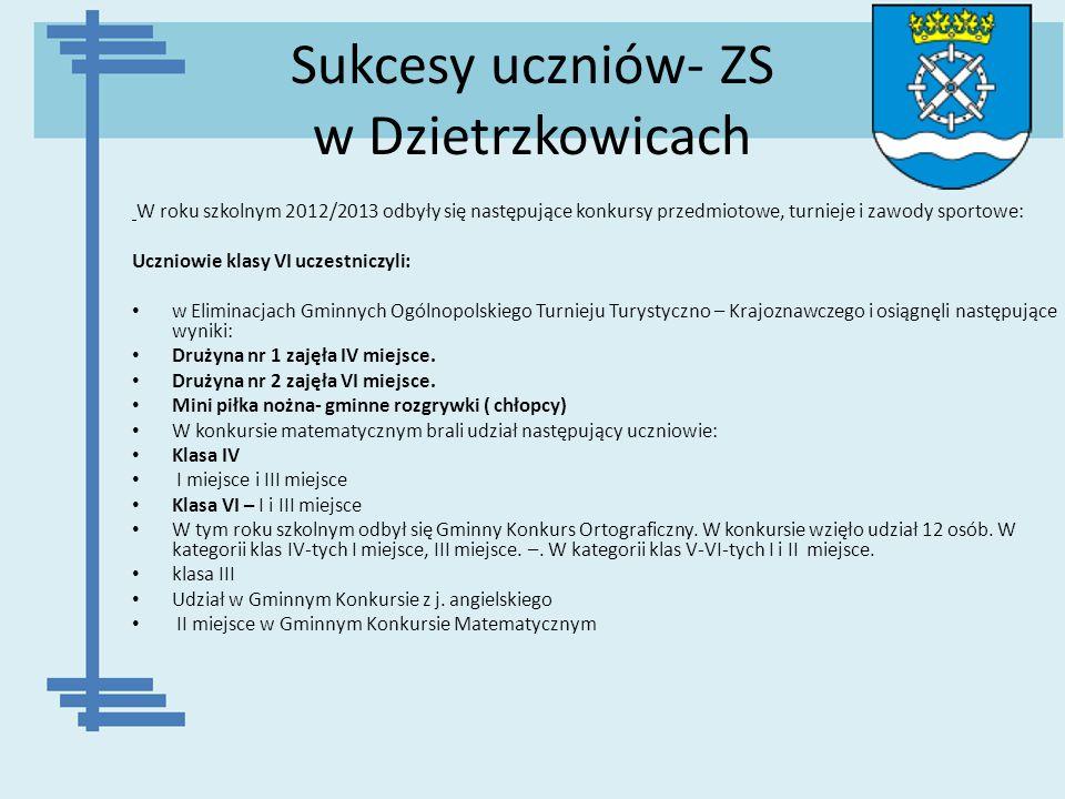 Sukcesy uczniów- ZS w Dzietrzkowicach