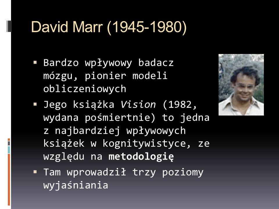 David Marr (1945-1980) Bardzo wpływowy badacz mózgu, pionier modeli obliczeniowych.