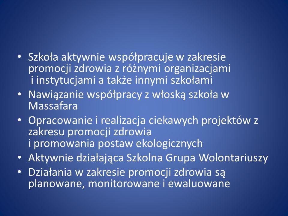 Szkoła aktywnie współpracuje w zakresie promocji zdrowia z różnymi organizacjami i instytucjami a także innymi szkołami