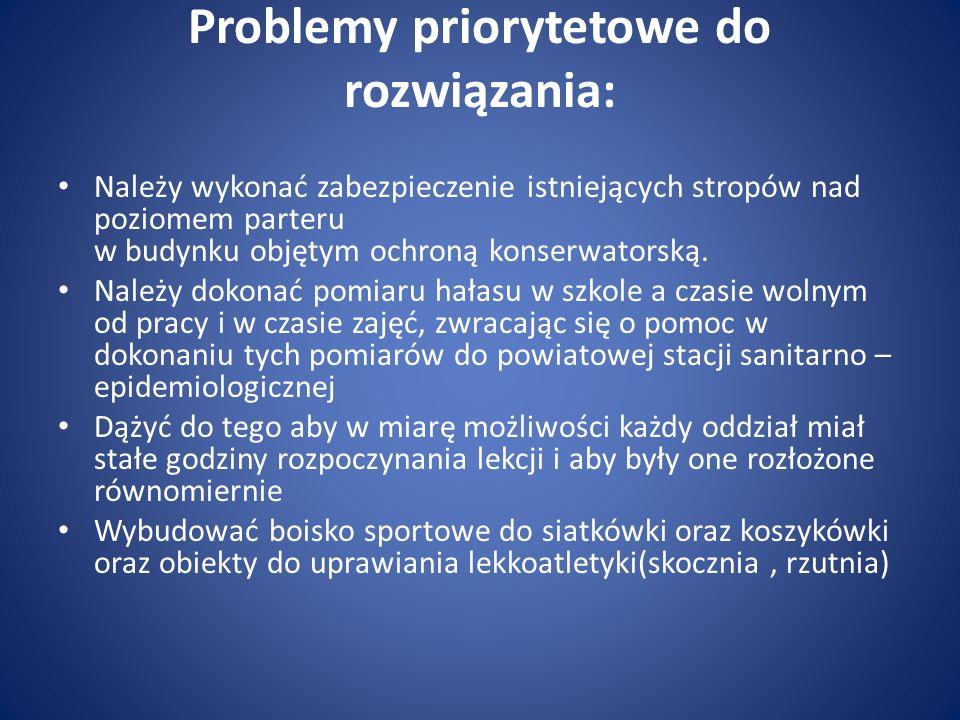 Problemy priorytetowe do rozwiązania: