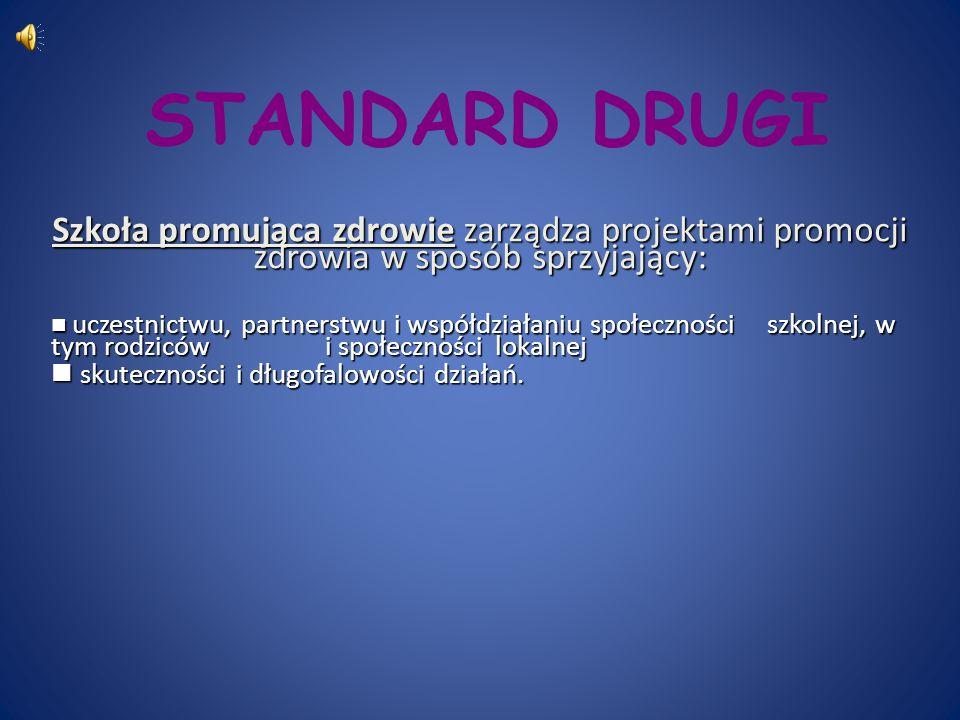 STANDARD DRUGI Szkoła promująca zdrowie zarządza projektami promocji zdrowia w sposób sprzyjający: