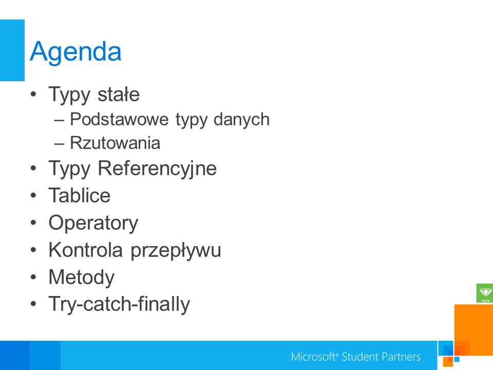 Agenda Typy stałe Typy Referencyjne Tablice Operatory
