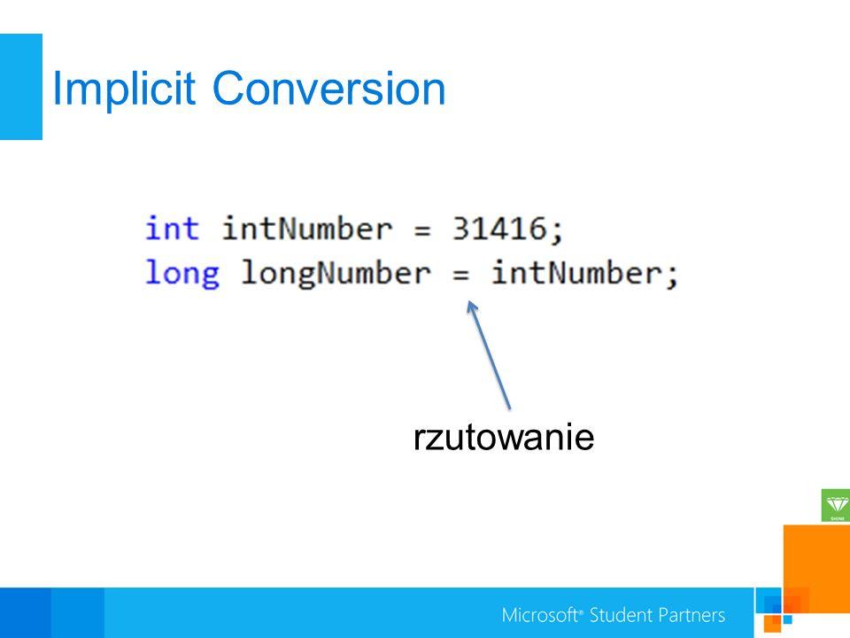 Implicit Conversion rzutowanie