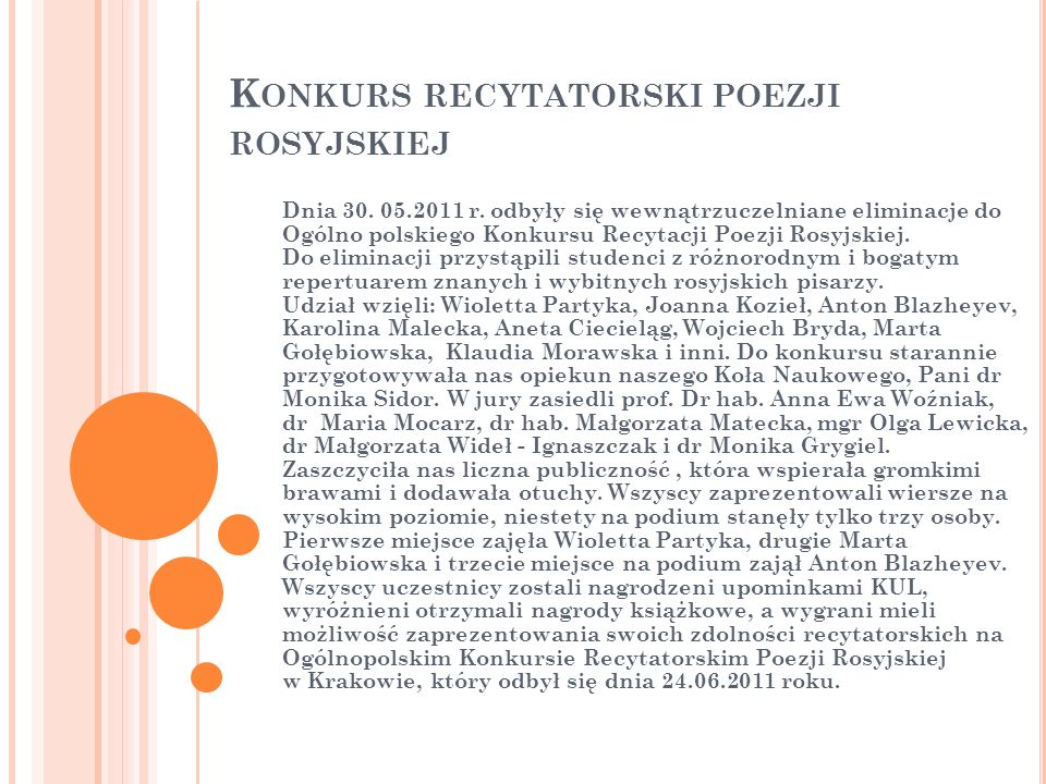 Konkurs recytatorski poezji rosyjskiej