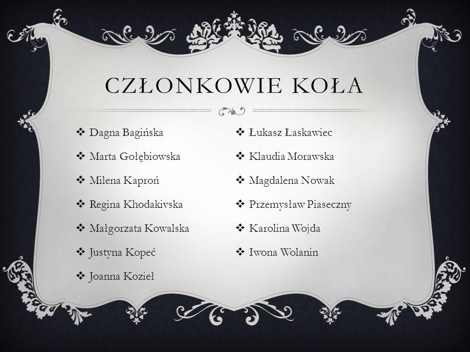 Członkowie Koła Dagna Bagińska Łukasz Łaskawiec Marta Gołębiowska