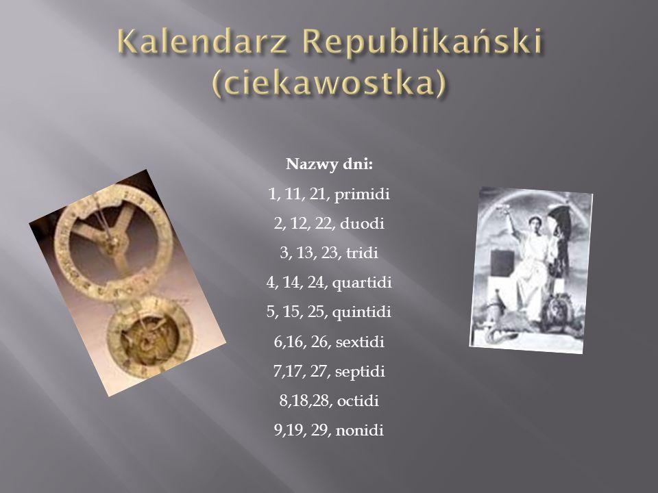 Kalendarz Republikański (ciekawostka)