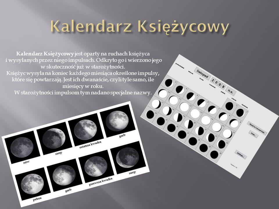 Kalendarz Księżycowy Kalendarz Księżycowy jest oparty na ruchach księżyca.