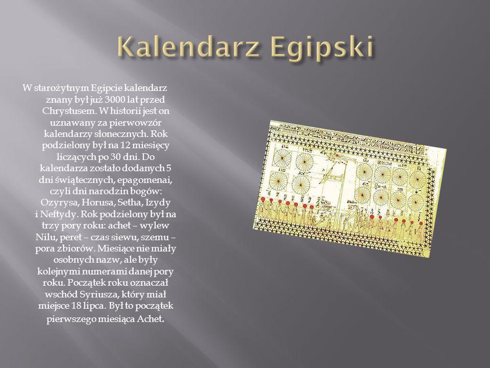 Kalendarz Egipski