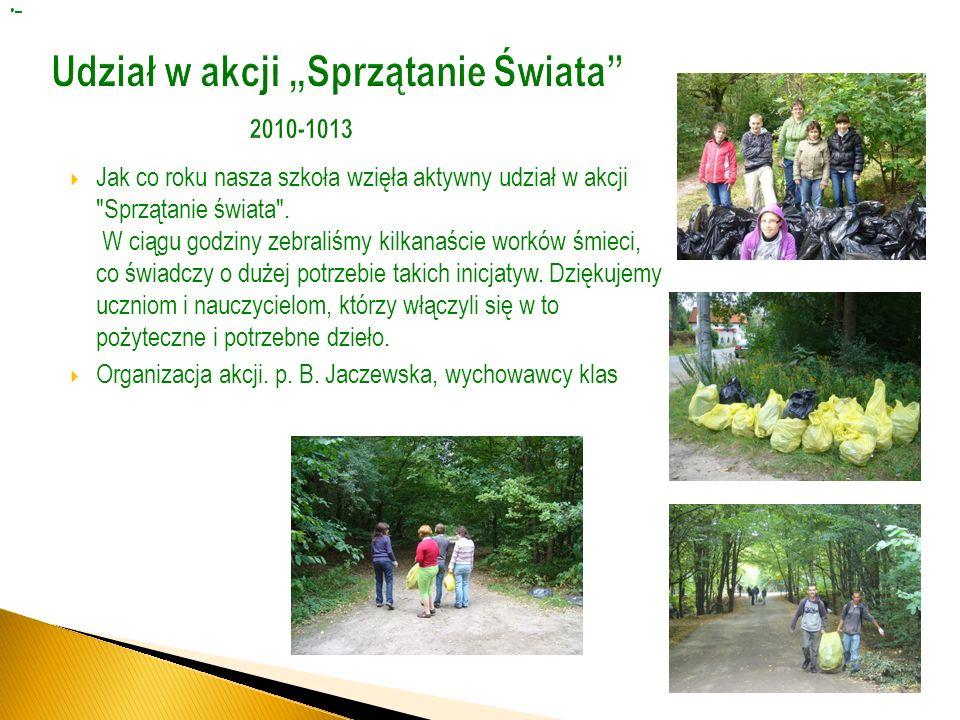 """Udział w akcji """"Sprzątanie Świata 2010-1013"""