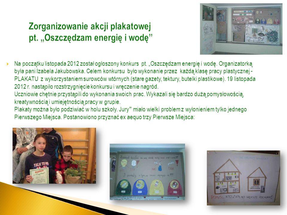 """Zorganizowanie akcji plakatowej pt. """"Oszczędzam energię i wodę"""