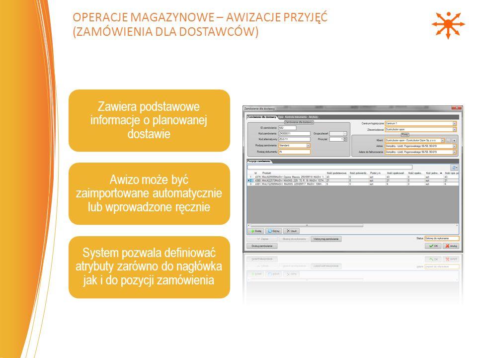 Operacje magazynowe – Awizacje przyjęć (zamówienia dla dostawców)