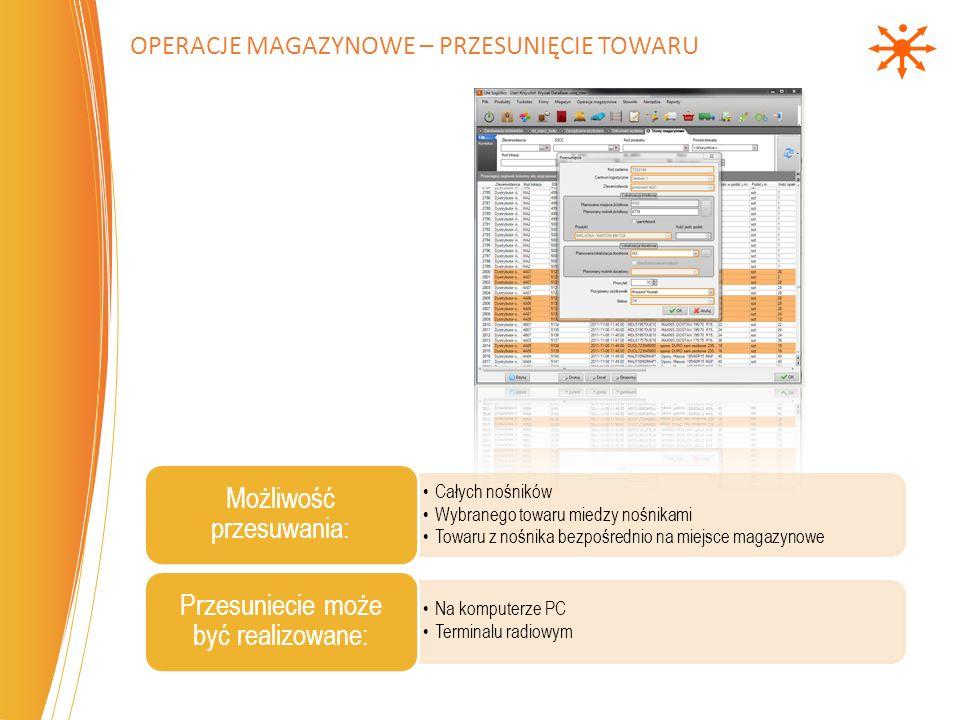 Operacje magazynowe – Przesunięcie towaru